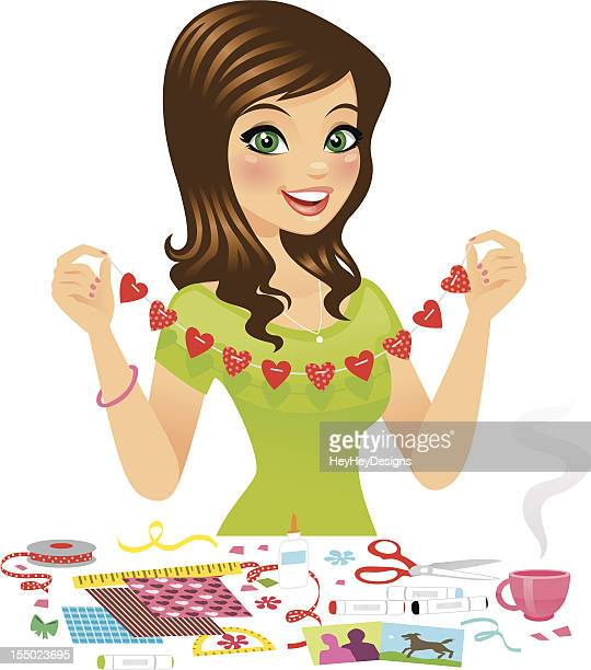 woman making crafts - art and craft stock illustrations, clip art, cartoons, & icons