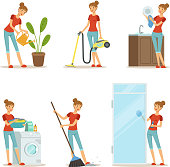 Woman making different housework. Active mother at homework. Vector illustration in cartoon style