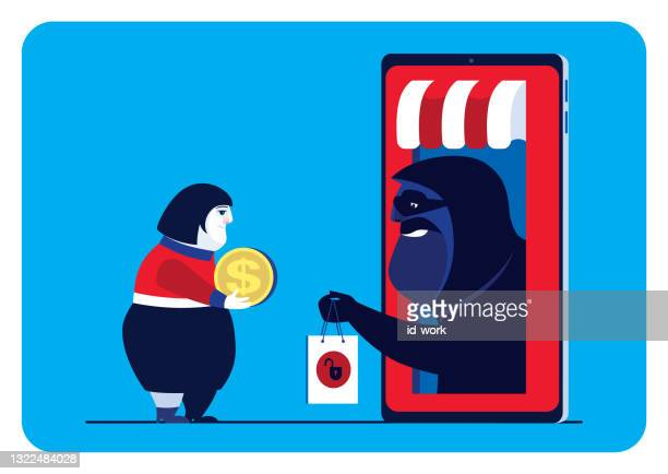 woman meeting hacker with unsafe online store via smartphone - scammer stock illustrations
