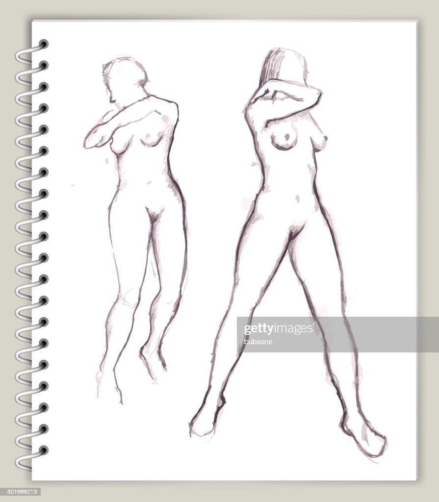 woman Model Drawing on Art Sketcbook royalty free vector art