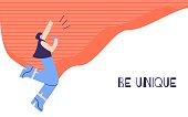 Woman Motivation Poster Positive Text Be Unique