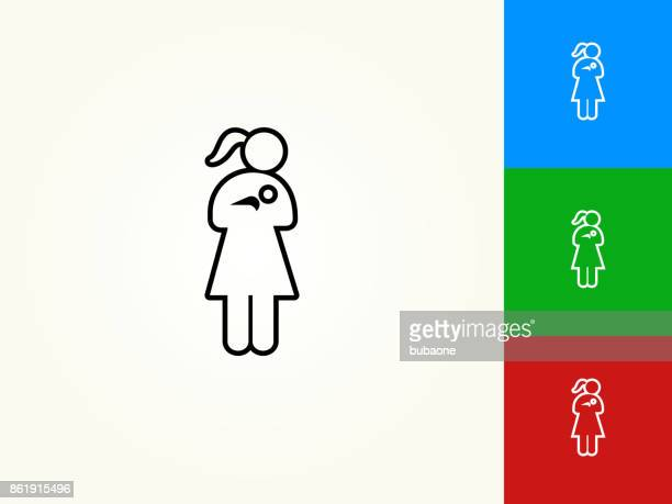 woman nursing a baby black stroke linear icon - child care stock illustrations