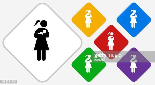 woman nursing a baby color diamond vector icon - child care stock illustrations