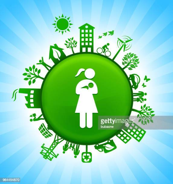 Woman Nursing a Baby Environment Green Button Background on Blue Sky