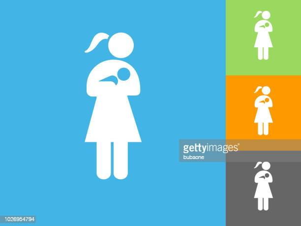 Woman Nursing a Baby Flat Icon on Blue Background