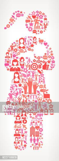 woman nursing a baby women's rights and female empowerment icon pattern - child care stock illustrations