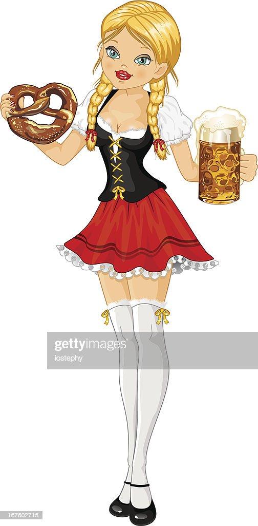 Woman oktoberfest beer and pretzel