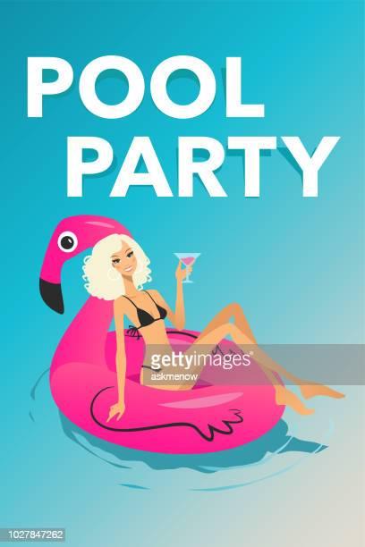 ilustraciones, imágenes clip art, dibujos animados e iconos de stock de mujer en un anillo inflable flamingo - pool party