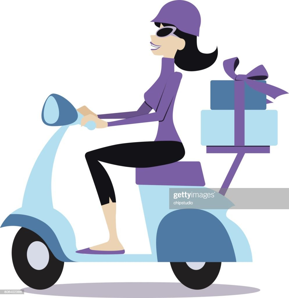 Woman on a Motor Scooter : stock illustration