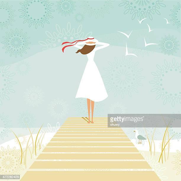ilustraciones, imágenes clip art, dibujos animados e iconos de stock de mujer en un muelle - chuwy