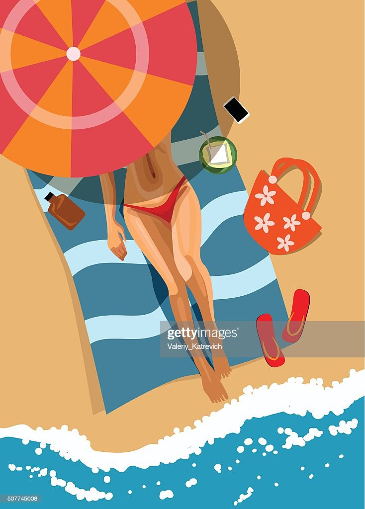 Woman on beach. Top view. Vector illustration