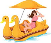 Woman On Pedal Boat