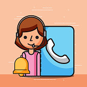 woman operator contact book and bell customer service