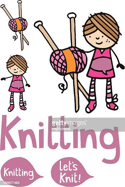 Mujer o Chica con punto agujas y lana