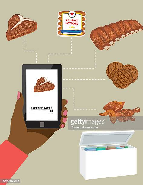Woman Ordering Meat For The Freezer On A Tablet