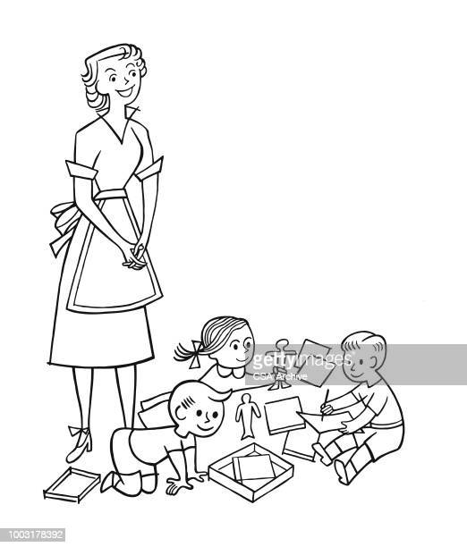 woman overlooking children at play - nanny stock illustrations