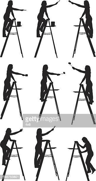 女性の絵画、はしご