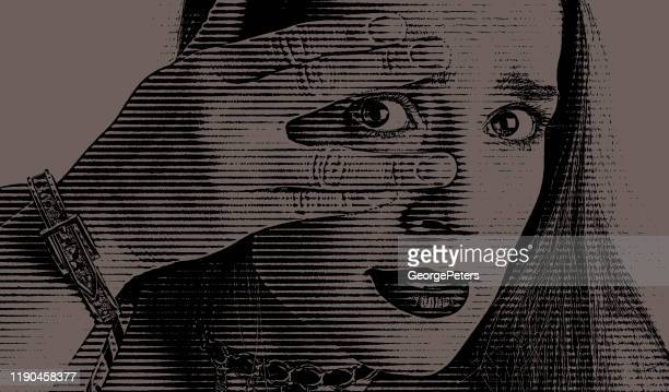 woman peeking through fingers with shocked expression - me too social movement stock illustrations