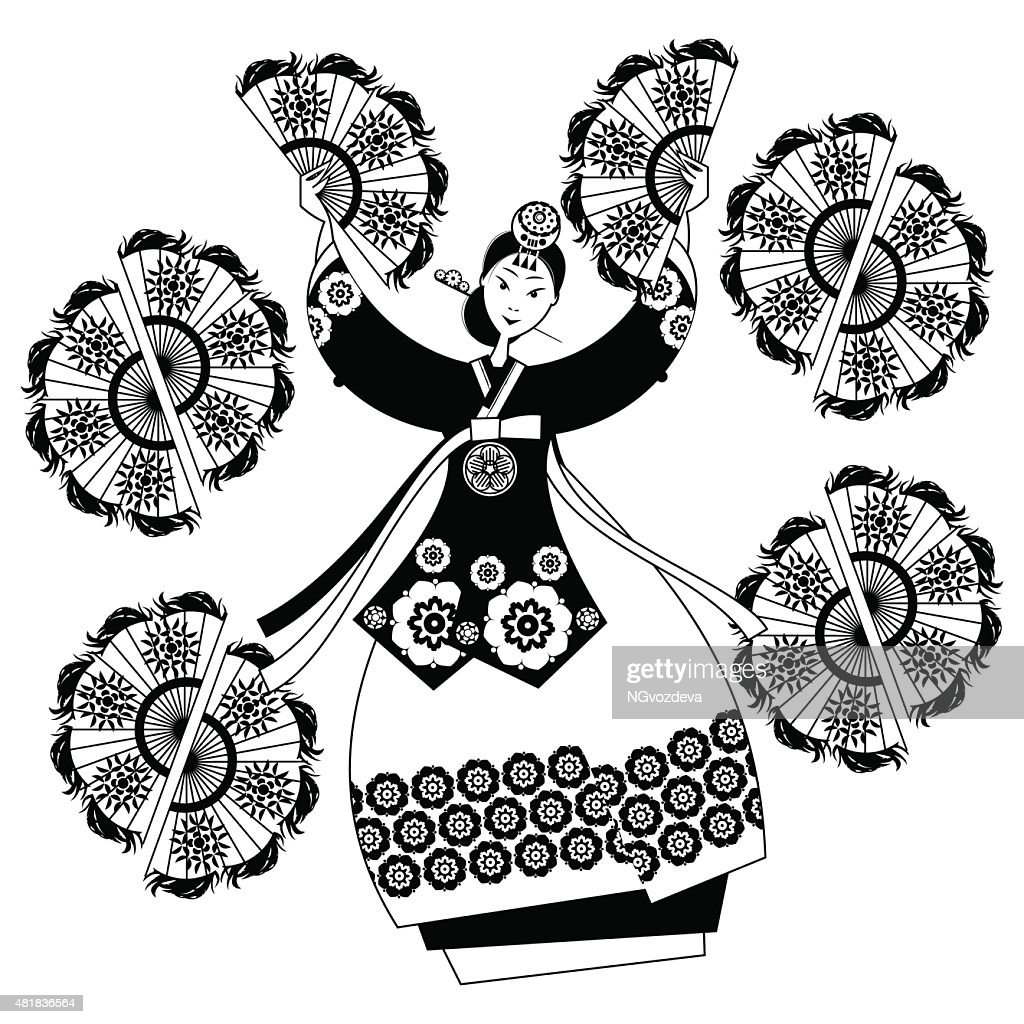 Woman performing traditional Korean fan dance. Korean tradition. Black/white.