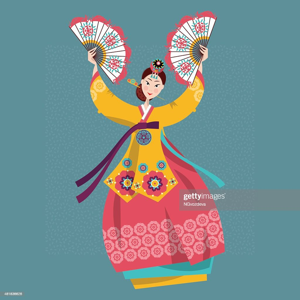 Woman performing traditional Korean fan dance. Korean tradition.