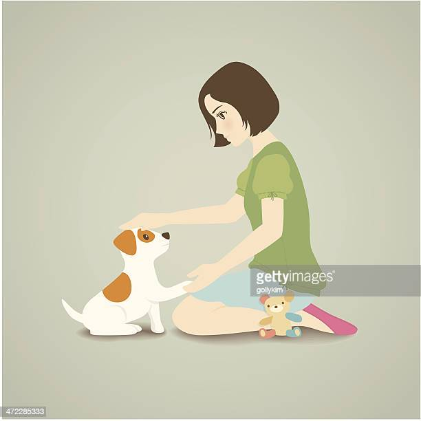 illustrations, cliparts, dessins animés et icônes de femme son chien interactif - jack russell terrier