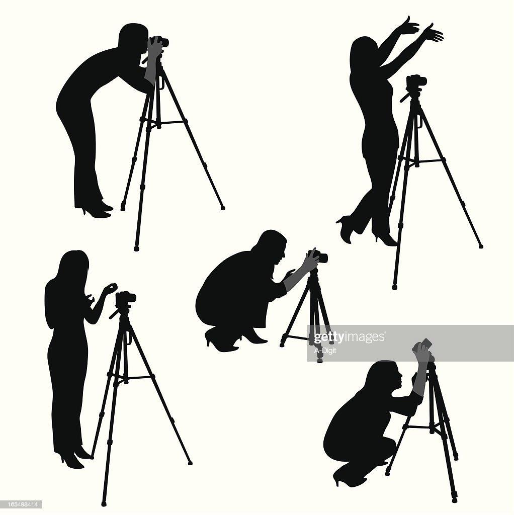Woman Photographer Vector Silhouette : stock illustration