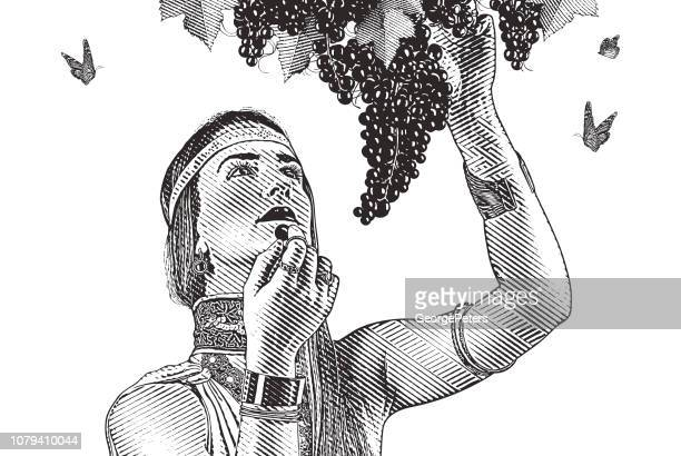 Woman picking wine grapes