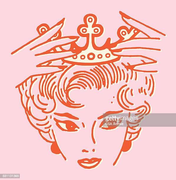 ilustraciones, imágenes clip art, dibujos animados e iconos de stock de mujer poner crown en la cabeza - reina de belleza