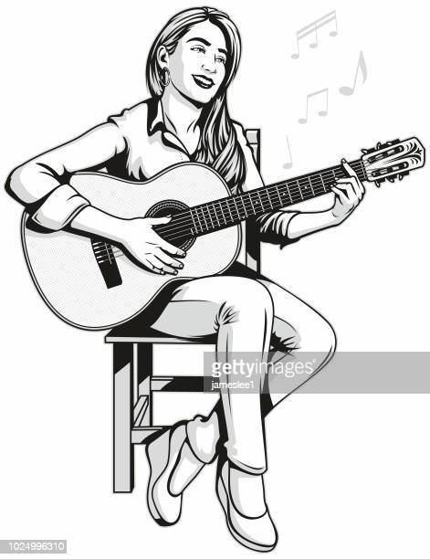 woman playing acoustic guitar - guitarist stock illustrations, clip art, cartoons, & icons