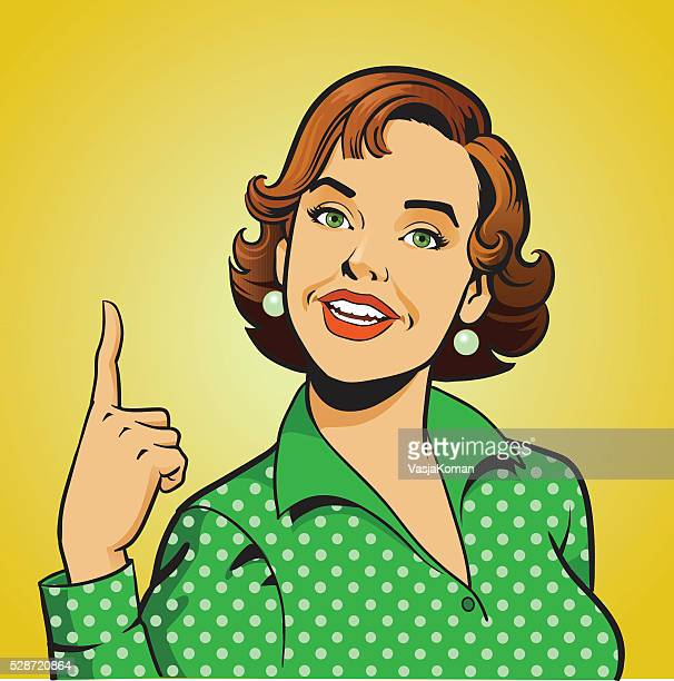 Woman Pointing Her Finger Up - Retro Style Gesture