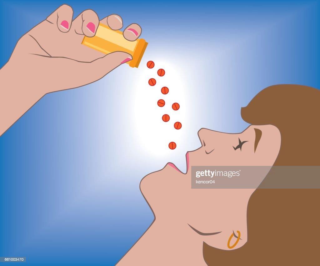 Woman Popping Pills