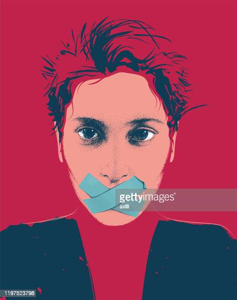woman portrait silent - hands covering mouth stock illustrations