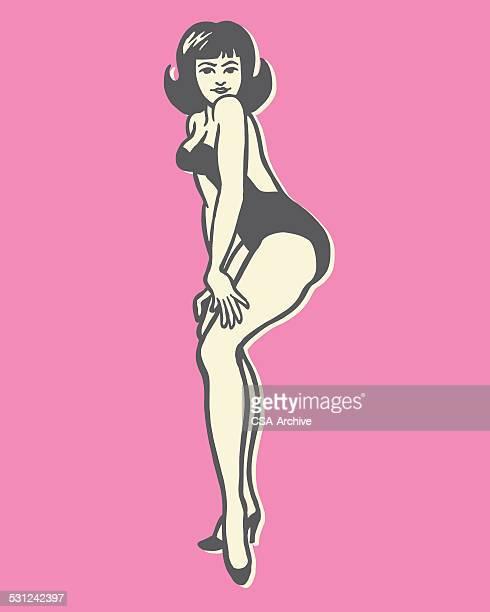 illustrations, cliparts, dessins animés et icônes de femme posant - femme grosse