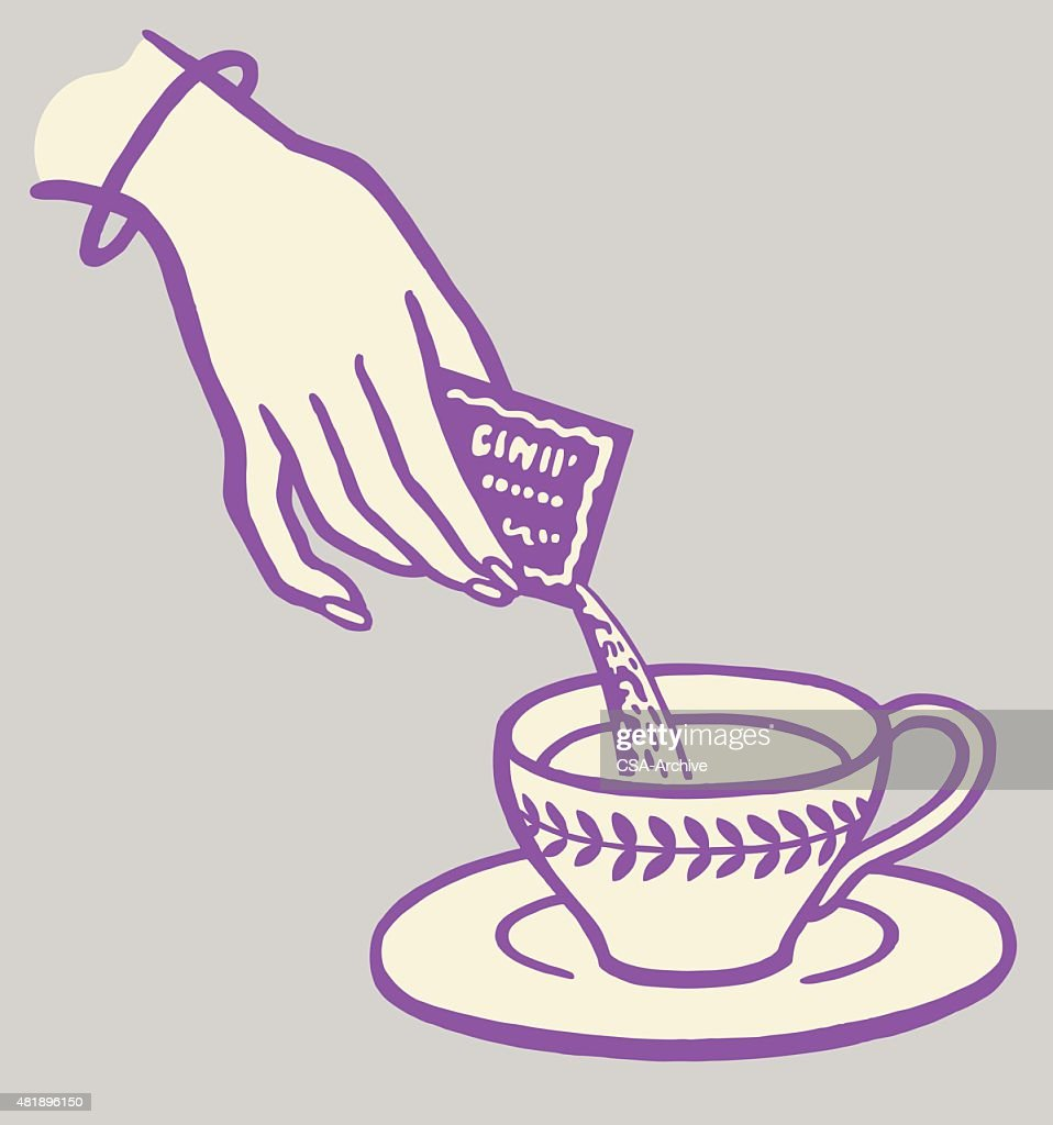 Woman Pouring Packet into Cup : stock illustration