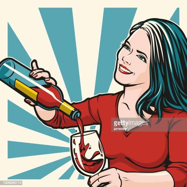 frau gießen wein - alkoholisches getränk stock-grafiken, -clipart, -cartoons und -symbole
