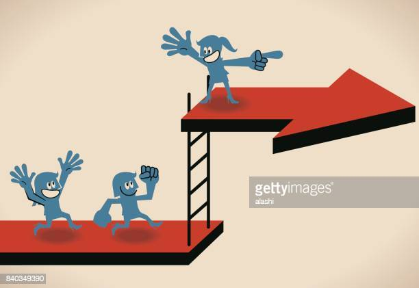 Woman Power, Leadership and Keep growing, Businesswoman (chief, leader ) leading a group to climb up a ladder to higher level (arrow board, way), ladder to success