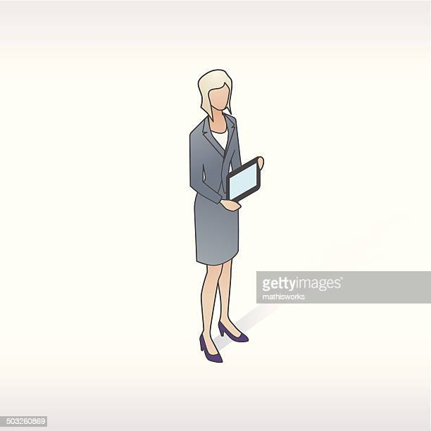woman presenting with tablet illustration - mathisworks stock illustrations