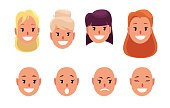 Woman, pretty faces with different hairstyles and emotions. Avatar. Vector illustration.