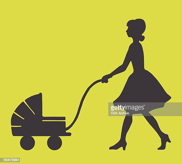 woman pushing a baby stroller - carer stock illustrations, clip art, cartoons, & icons