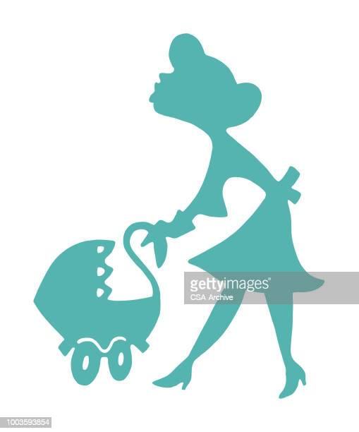 woman pushing baby carriage - carer stock illustrations, clip art, cartoons, & icons