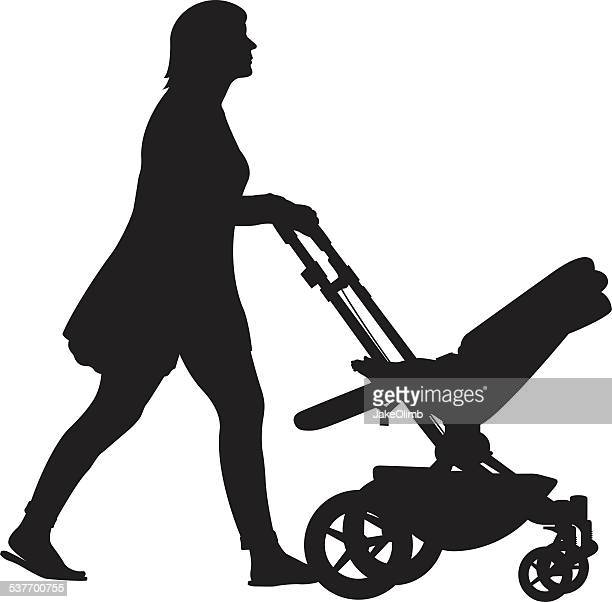 woman pushing stroller silhouette - three wheeled pushchair stock illustrations, clip art, cartoons, & icons