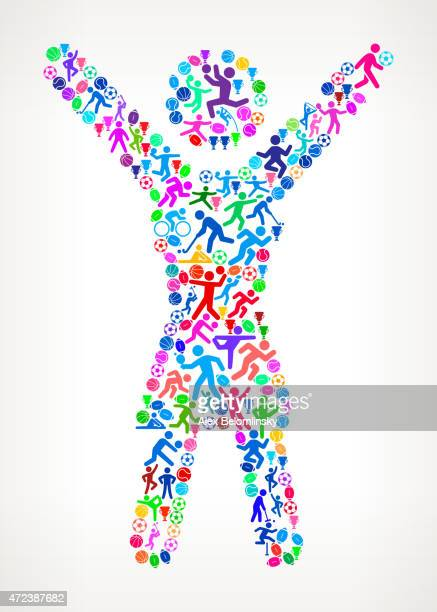 Woman Raising Hands Fitness Sports and Exercise pattern vector b