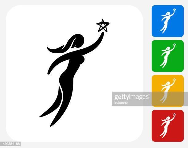 ilustrações de stock, clip art, desenhos animados e ícones de mulher atingir a estrela ícone flat design gráfico - bebe chegando