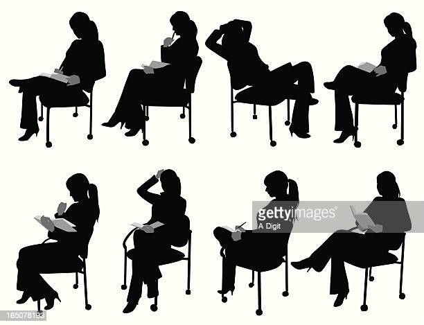 Woman Reading Vector Silhouette