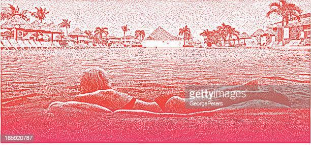 illustrations, cliparts, dessins animés et icônes de femme relaxante dans la piscine à débordement du centre de villégiature - matelas pneumatique