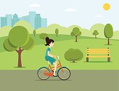 Woman riding a bicycle in park. Vector flat illustration.
