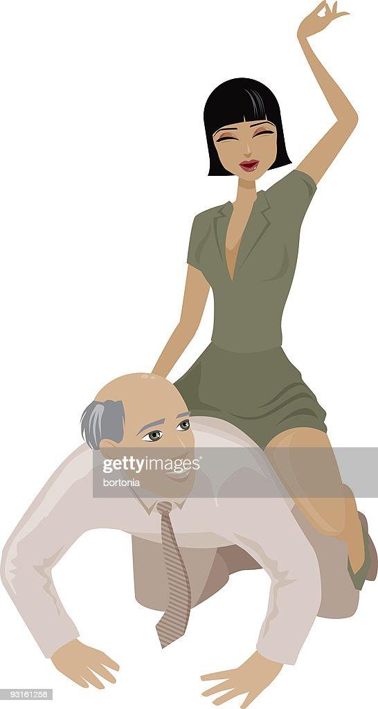 Woman Riding Bareback : stock illustration