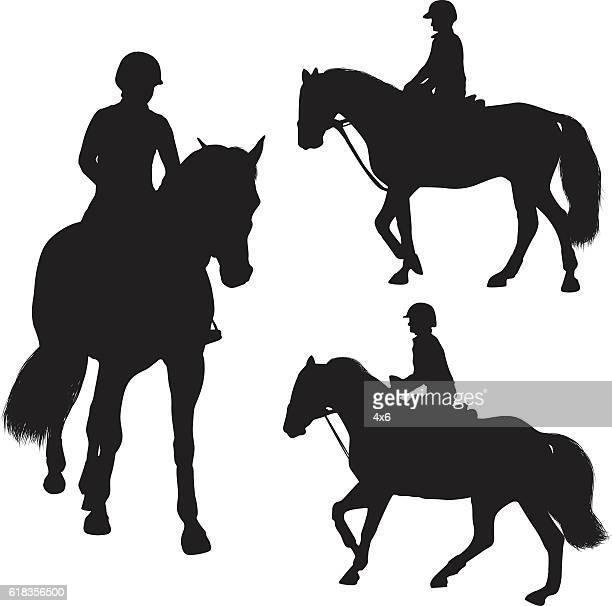 woman riding horse - horseback riding stock illustrations, clip art, cartoons, & icons