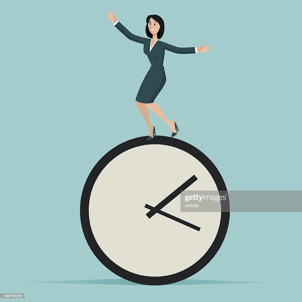 Woman run against the time