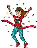 Woman runner cross the finish line. Cartoon style. Marathon